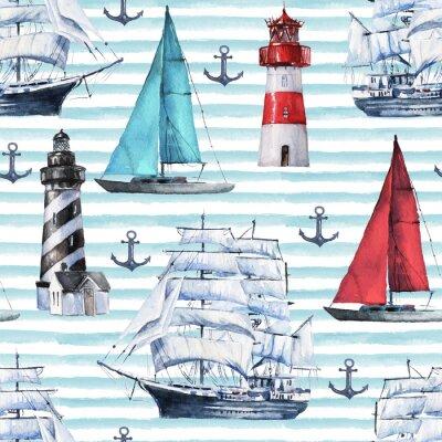 Tapeta Bez szwu akwarela wzór morskie z różnych łodzi, statków, statków i kotwicy na niebieskim tle, idealny do owijania, tapety, pocztówki, pozdrowienia, zaproszenia ślubne, romantyczne imprezy.