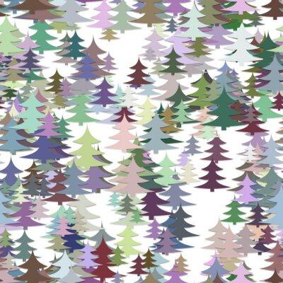 Tapeta Bez szwu chaotyczne tło zima urlop - kolorowe sosnowe drzewo wzór Christmas vector graphic design