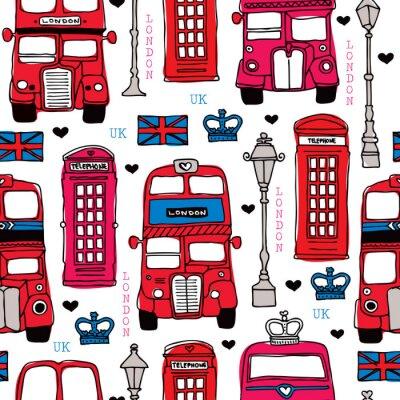 Tapeta Bez szwu czerwony miłość London UK tle wzór ikon podróży