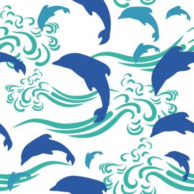 Tapeta Bez szwu deseń delfinów i fal. Wektor graficzny. Tapeta. Symdol morza.