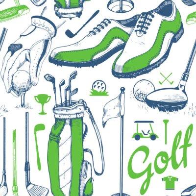 Tapeta Bez szwu deseń golfa z koszem, buty, samochód, putter, piłka, rękawice, flaga, torba. Wektor zestaw ręcznie rysowane sprzętu sportowego. Ilustracja w stylu szkic na białym tle.