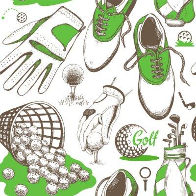Tapeta Bez szwu deseń golfa z koszem, buty, samochód, putter, piłka, rękawice, torba. Wektor zestaw ręcznie rysowane sprzętu sportowego. Ilustracja w stylu szkic na białym tle.