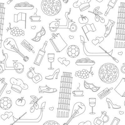 Tapeta Bez szwu deseń na temat podróży w kraju we Włoszech, prostych ikon konturu na białym tle