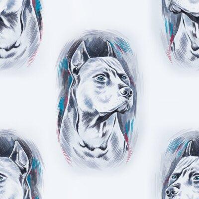 Tapeta Bez szwu deseń piękne pies na białym tle.