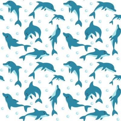 Tapeta Bez szwu deseń pływających i delfinów grających w wodzie.