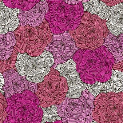 Tapeta Bez szwu deseń róż różowy w stylu doodle