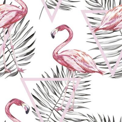 Tapeta Bez szwu deseń tropikalnych Flamingo i liści. Element do projektowania Zaproszenia, plakaty filmowe, tkaniny i inne przedmioty. Samodzielnie na białym tle. Zestaw geometryczny. Wektor EPS 10