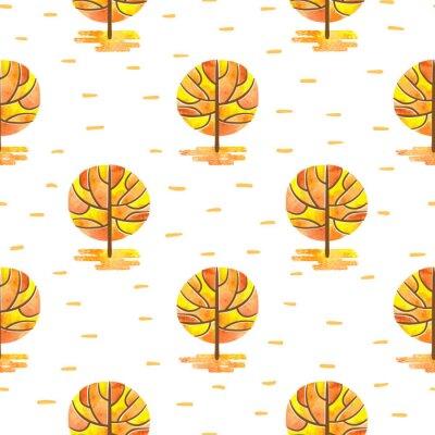 Tapeta Bez szwu deseń z abstrakcyjna mozaiki jesienią drzew. Wektor akwarela jesienią lasu tła.