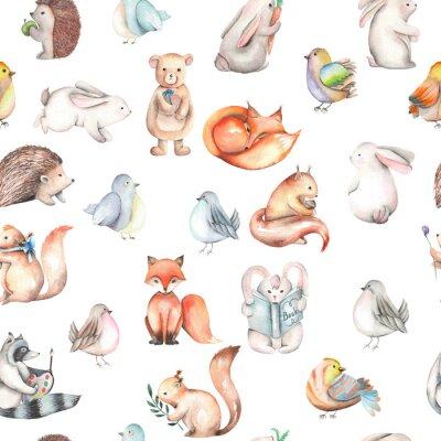 Tapeta Bez szwu deseń z akwarela ładny zwierząt leśnych, ręcznie rysowane samodzielnie na białym tle