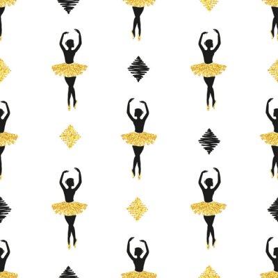 Tapeta Bez szwu deseń z ballerinas tańca. Ilustracji wektorowych w kolorach czarnym i złotym.