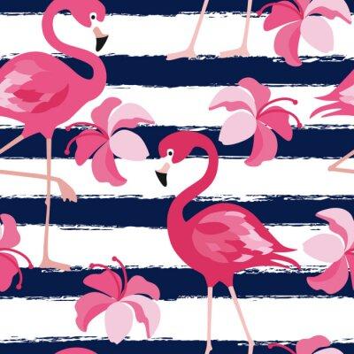 Tapeta Bez szwu deseń z ciemnoniebieski paski grunge i różowy flaming. Pink Flamingo wektora tła projektu tkaniny i wystrój. Wektor modny ilustracji.