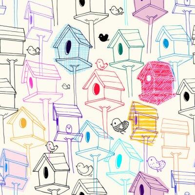 Tapeta Bez szwu deseń z colorfil birdhouse na tle. Kolorowe r? Cznie rysowane domy ptaków w stylu linii z tekstur skandowania. Ilustracja do drukowania tkanin, tapety, papier pakowy, tło.