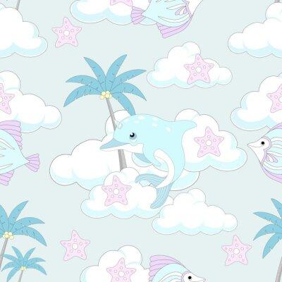 Tapeta Bez szwu deseń z cute jednorożca. Piękne tło z chmurami. Ilustracji wektorowych.