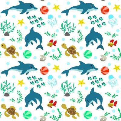 Tapeta Bez szwu deseń z delfinami i życia morskiego, fauna.