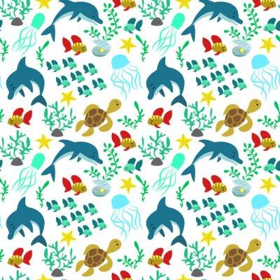 Tapeta Bez szwu deseń z delfinami, ryb, meduzy, wodorostów, żółwie, seashells, gwiazdy.