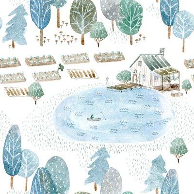 Tapeta Bez szwu deseń z domu rybaka i garden.Landscape lasu, jeziora i lake.Watercolor wyciągnąć rękę illustration.White tła.