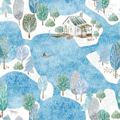 Tapeta Bez szwu deseń z domu rybaka, wyspy i garden.Landscape lasu, jeziora, mostu i lake.Watercolor ręcznie rysowane illustration.Blue tła.