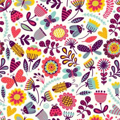 Tapeta Bez szwu deseń z motyli, chrząszczów i kwiatów. Rysunek odręcznych