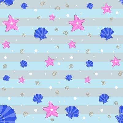 Tapeta Bez szwu deseń z muszli i elementów morskich