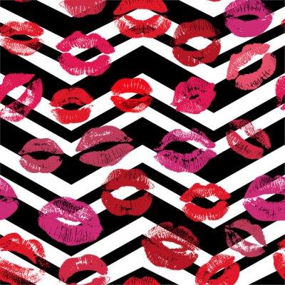 Tapeta Bez szwu deseń z pięknym fioletowe i różowe kolory wargi drukuje na tle chevron.