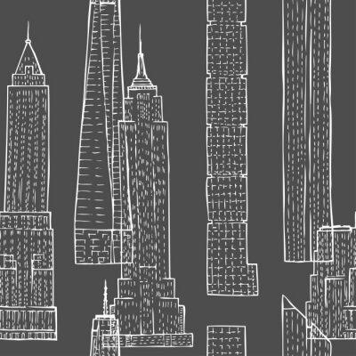 Tapeta Bez szwu deseń z wieżowców