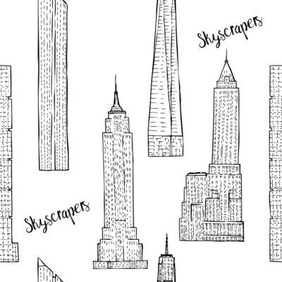Tapeta Bez szwu deseń z wieżowców. Hand rysowane szkice cityscape