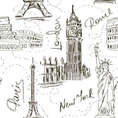 Tapeta Bez szwu deseń z zabytków architektonicznych