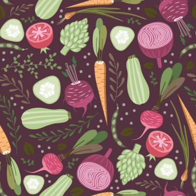 Tapeta bez szwu deseń zdrowych warzyw