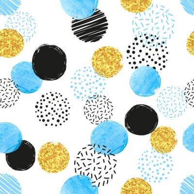 Tapeta Bez szwu kropkowany wzór z niebieskimi, czarnymi i złotymi okręgami. Wektor abstrakcyjna tła z okrągłych kształtów.