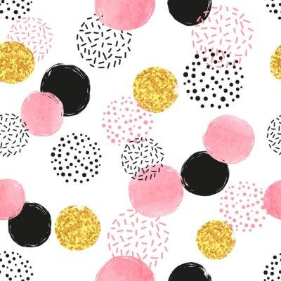 Tapeta Bez szwu kropkowany wzór z różowymi, czarnymi i złotymi okręgami. Wektor abstrakcyjna tła z okrągłych kształtów.