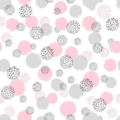 Tapeta Bez szwu kropkowany wzór z różowymi i szarymi okręgami. Wektor abstrakcyjna tła z okrągłych kształtów