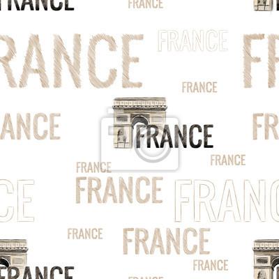 Tapeta bez szwu tekstury z napisami we Francji w szybkim stylu niechlujstwa ręcznie z wizerunkiem zabytków Łuku Triumfalnego w Paryżu wektor rysunek