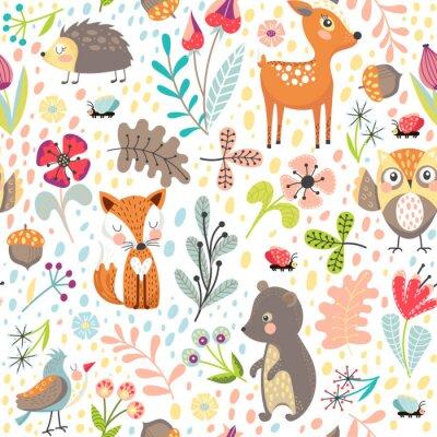 Tapeta Bez szwu tła z zwierząt leśnych