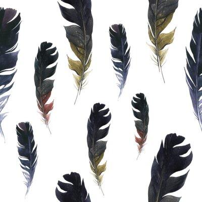 Tapeta Bezproblemowa dziki wzór. Tło z piórami na białym tle. Naturalny wzór akwarela. Styl Boho.