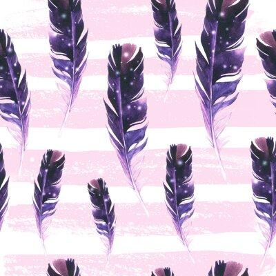 Tapeta Bezproblemowa dziki wzór. Tło z piórami na pasiastym tle. Naturalny wzór akwarela. Styl Boho.