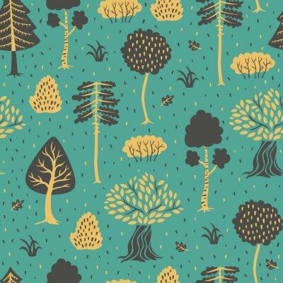 Tapeta Bezszwowa ręka Rysujący tło z drzewami w Doodle stylu.