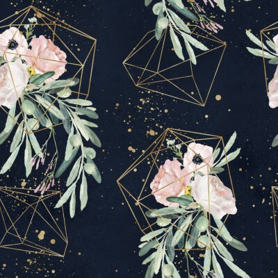 Tapeta Bezszwowe akwarela olea kwiatowy wzór z gałązek oliwnych, liści, bukiety kwiatów rumieńca, plamy farby i złote geometryczne kształty na czarnym tle