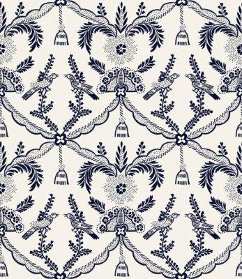 Tapeta Bezszwowe barwnik indygo drzeworyt drukowane etniczne adamaszku wzór. Tradycyjny europejski motyw ludowy z ptakami i frędzlami, granatowy na tle ecru. Drukowanie tkanin lub tapet.