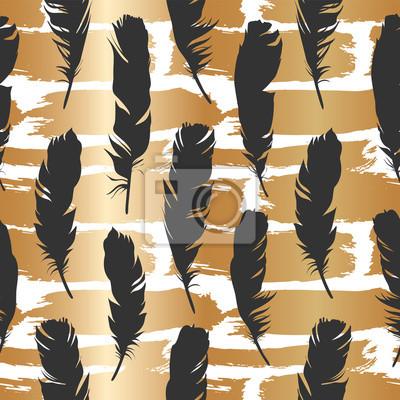 Tapeta Bezszwowe czarne ilustracji z piór na tle szczotkowanego złota. Naturalny wzór wektora. Styl Boho. Proste sylwetki.