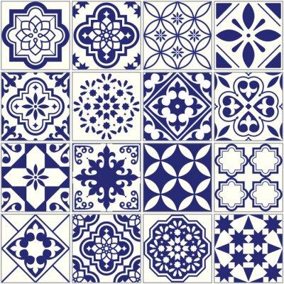 Tapeta Bezszwowe deseń płytek, Morza Śródziemnego mozaiki kwiatu, Lizbona bez szwu granatowy ornament niebieski
