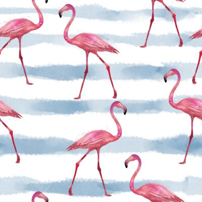 Tapeta Bezszwowe flamingi wzór, wektor