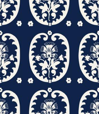 Tapeta Bezszwowe indygo barwnik kwiatowy wzór etnicznych. Tkanina, tapeta.