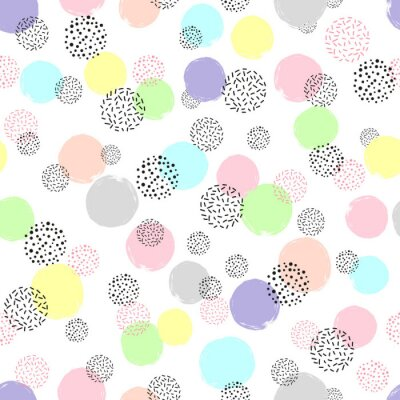 Tapeta Bezszwowe kolorowe dotted wzór. Wektor abstrakcyjna tła z kręgów.