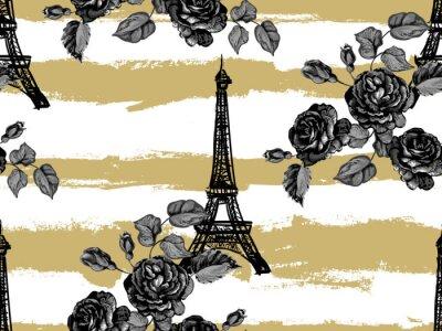 Tapeta Bezszwowe Paris wzór z wieży Eiffla i róże kwiaty. Francuski wektorowy tło. Idealny do tapet, stron internetowych, tekstur powierzchni, tekstyliów, zaproszeń, odzieży, kart, wzorów produktów