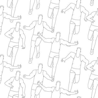 Tapeta Bezszwowe sport wzór, zarys ludzi do biegania. Tło wektor linii