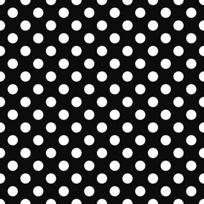 Tapeta Bezszwowe tło retro z białymi kropkami na czarnym tle.
