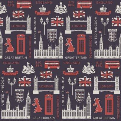 Tapeta Bezszwowe tło wektor na temat Wielkiej Brytanii i Londynu z brytyjskimi symbolami, zabytkami architektury i flagą Wielkiej Brytanii w stylu retro. Może być stosowany jako tapeta lub papier pakowy