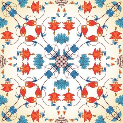 Tapeta Bezszwowe tło wektor. Vintage kwiatowy wzór w nowoczesnym stylu. Rośliny Aquilegia zawierają kwiaty, pąki i liście.