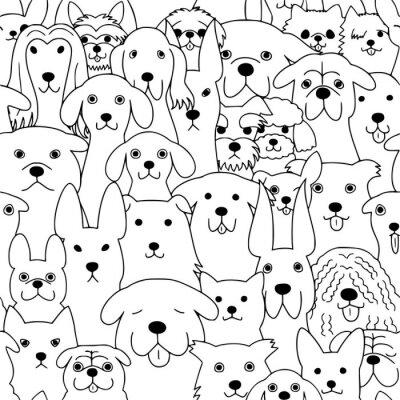 Tapeta bezszwowe tło wzór linii psów
