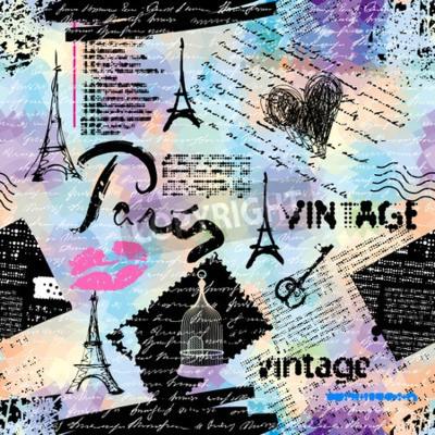 Tapeta Bezszwowe tło wzór. Naśladowanie kolażu vintage notatnik z napisem w Paryżu.